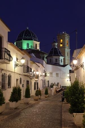 altea: Old town of Altea at night, Spain Stock Photo