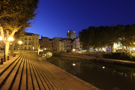 Canal du Midi in the city of Narbonne, France
