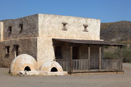 adobe pueblo: Abandoned residential house in a Mexican pueblo village