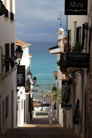 altea: Street in the old town of Altea, Spain. Photo taken at 21st of October 2011 Editorial