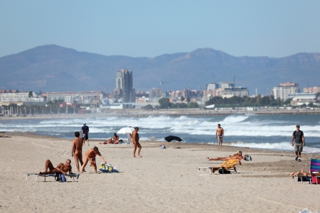 nudism: Nudist beach near Valencia, Spain. Photo taken at 8th of October 2011 Editorial