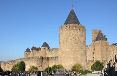 fortified wall: Fortified wall of the medieval town Carcassonne in France