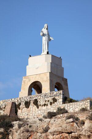 christus: Statue of San Cristobal in the Alcazaba of Almeria, Spain Stock Photo