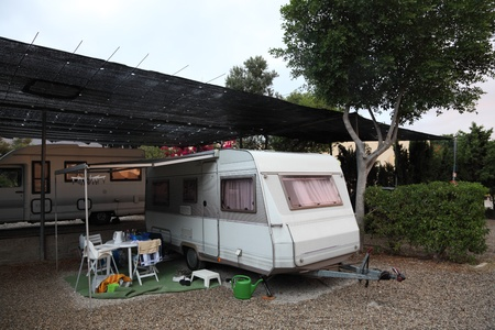 European mobile home on a camping site photo