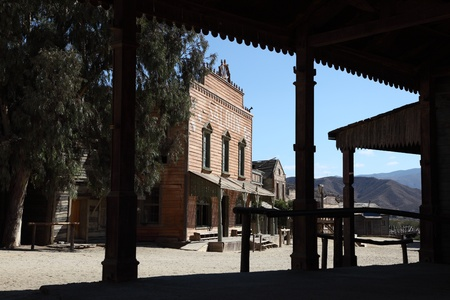 Western style saloon in an old American town photo
