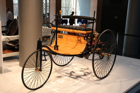 ESSEN - NOV 29: First Mercedes Benz Car from 1886 shown at the Essen Motor Show in Essen, Germany, on November 29, 2011