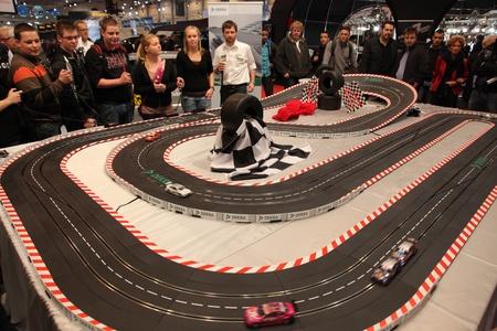 ESSEN - NOV 29: Slot Car Racing Racing Track at the Essen Motor Show in Essen, Germany, on November 29, 2011
