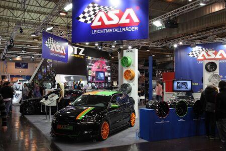 ESSEN - NOV 29: typical stand at the Essen Motor Show in Essen, Germany, on November 29, 2011