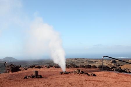 timanfaya: Timanfaya National Park, explosion of water because of hot volcano underground. Lanzarote, Spain