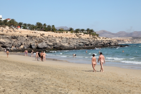 Nudist beach on Canary Island Fuerteventura, Spain. Photo taken at 21st of December 2011 Editorial