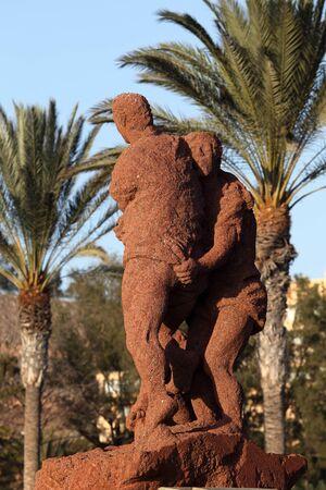 canarian: Lucha Canaria (Canarian wrestling) monument on Canary Island Fuerteventura, Spain