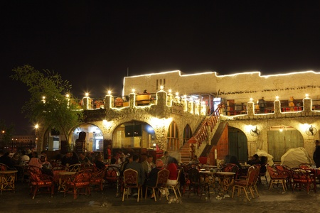 suq: Restaurant in Souq Waqif in Doha at night. Qatar, Middle East. Photo taken at 6th of January 2012 Editorial