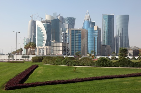 Doha new downtown district West Bay, Qatar Stock Photo