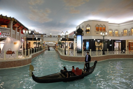 Canal and Gondola inside of the Villaggio Mall Shopping Center in Doha, Qatar. Photo taken at 7th of January 2012
