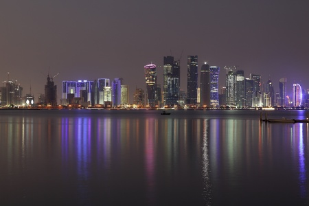 middle east: Doha City skyline at night, Qatar, Middle East