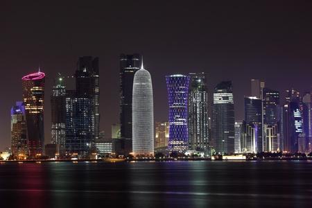 qatar: Doha skyline at night, Qatar, Middle East