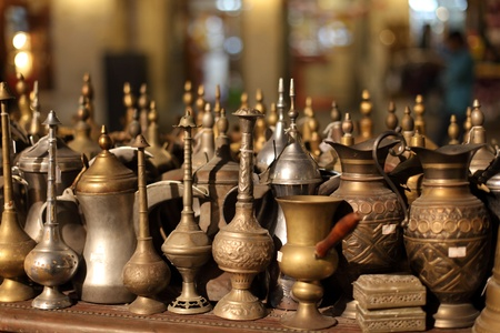 suq: Arabic souvenirs for sale in Souq Waqif, Doha Qatar Stock Photo