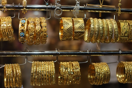 suq: Jewelry for sale in the Gold Souq of Doha, Qatar Stock Photo
