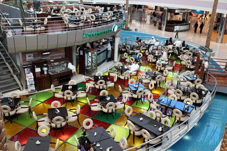 Cafe inside of the Marina Mall in Abu Dhabi, United Arab Emirates. Photo taken at 12th of January 2012