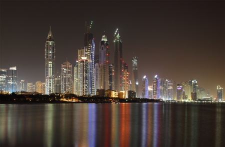 marina: Dubai Marina skyline at night. United Arab Emirates