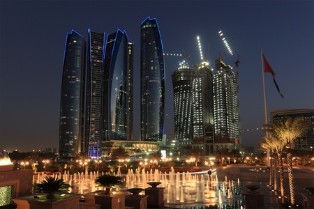 Skyscrapers in Abu Dhabi at dusk, United Arab Emirates Stock Photo - 12181493