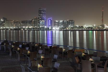 Abu Dhabi skyline at night, United Arab Emirates photo