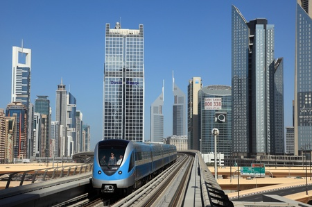 Metro train downtown in Dubai, United Arab Emirates. Photo taken at 15th of January 2012 Editorial