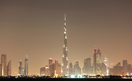 Dubai skyline at night, United Arab Emirates Stock Photo