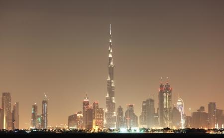 Dubai skyline at night, United Arab Emirates Stock Photo