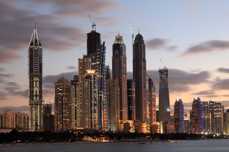 Dubai Marina skyline at dusk, Dubai, United Arab Emirates
