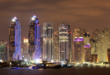 Dubai Marina at night, United Arab Emirates Stock Photo