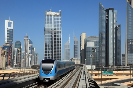 trailway: Metro train downtown in Dubai, United Arab Emirates