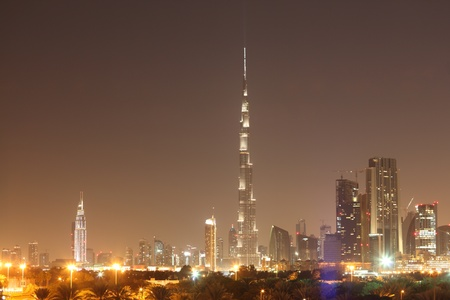 Dubai skyline at night, United Arab Emirates photo