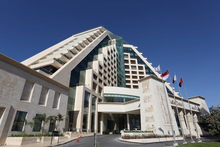 themed: Egyptian themed Raffles hotel in Dubai, United Arab Emirates. Photo taken at 15th of January 2012 Editorial