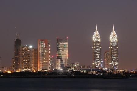 Dubai Media City at night. United Arab Emirates photo