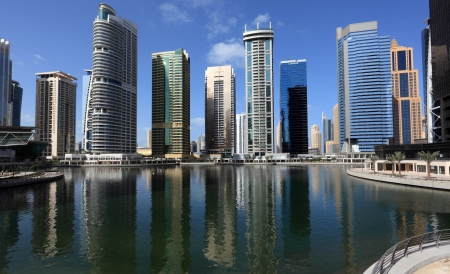 Jumeirah Lakes Towers in Dubai, United Arab Emirates Stock Photo