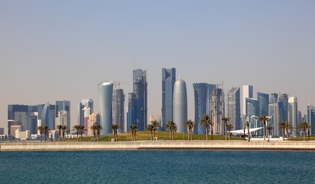 Skyline of Doha downtown district. Qatar, Middle East Stock Photo