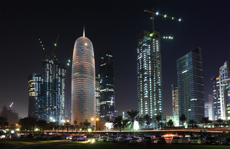 middle east: Doha downtown West Bay at night, Qatar, Middle East.  Photo taken at 9th January 2012 Editorial