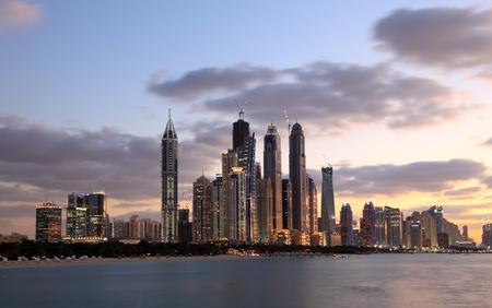 Dubai Marina skyline at night. Dubai, United Arab Emirates. Photo taken at 17th January 2012