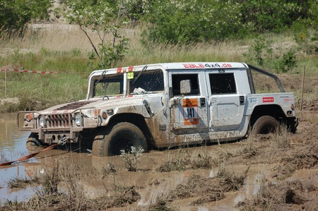 Hummer H1 at offroad rally competition Editorial