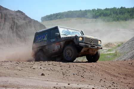 4wd: Mercedes Benz G Model at offroad rally competition Editorial