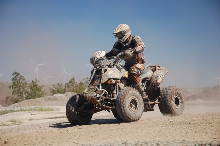 An all-terrain vehicle (ATV) at offroad rally competition
