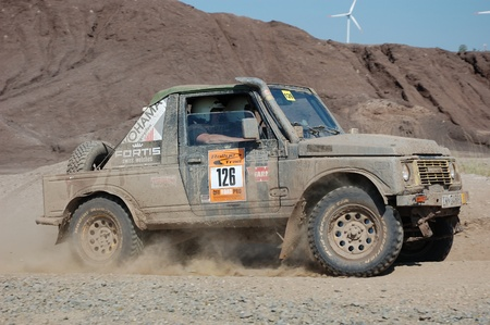 Suzuki SJ jeep at offroad rally competition