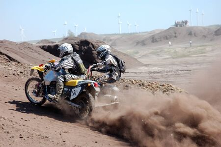sidecar: Rally motorcycle with sidecar at offroad competition Editorial
