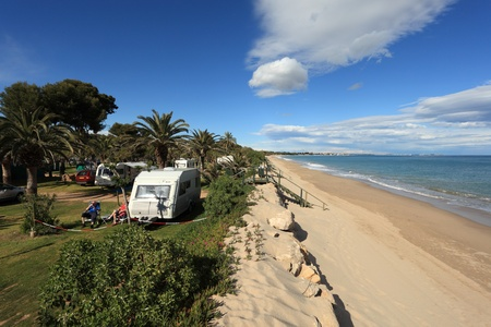 Camping site on the beach in Catalonia, Spain. Photo taken at 19th April 2012
