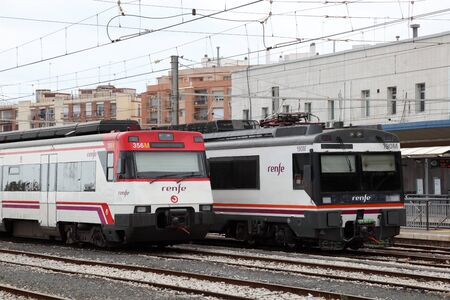 trailway: Trains at main station of Tarragona, Spain. Photo taken at 22nd April 2012 Editorial
