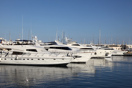 Luxury yachts in the marina of Alicante, Spain