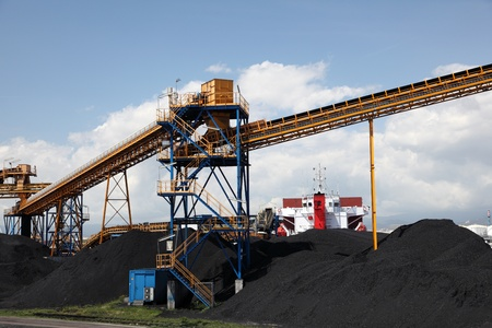 Black coal at the industrial port  Stock Photo