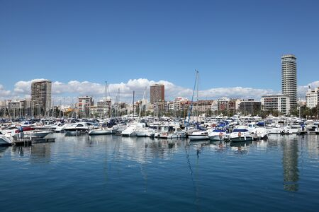 Yachts and boats in the marina of Alicante, Spain. Photo taken at 1st of May 2012