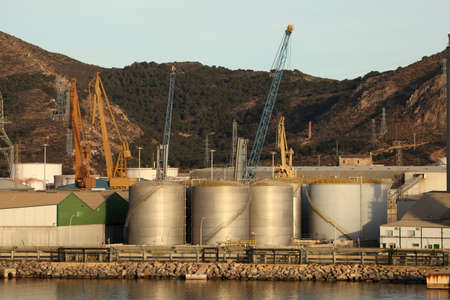 Fuel storage tanks at the industrial port Stock Photo - 13824738
